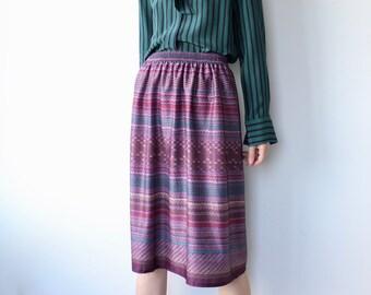 Vintage Print Midi Skirt