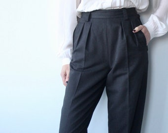 Grey Tailored Italian Pleat High Waist Trousers