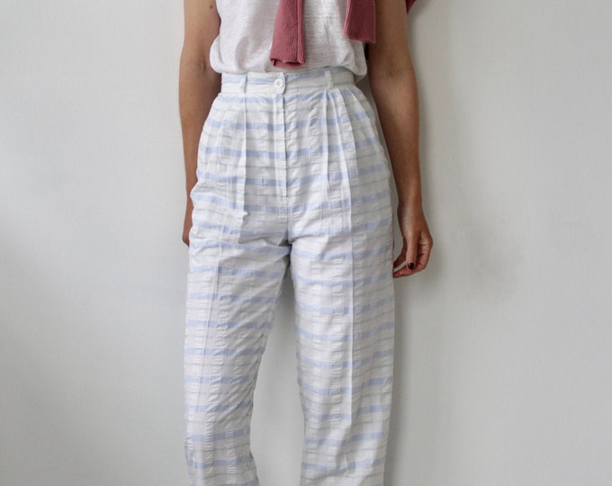 Featured listing image: Blue and white high waist 80s summer trousers