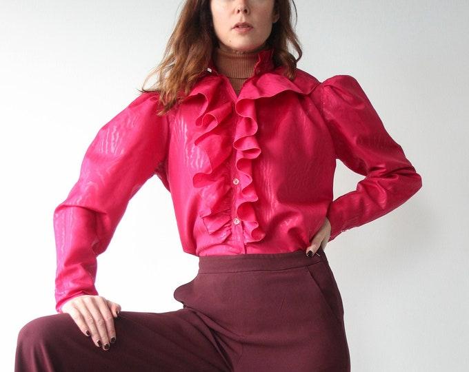 Hot Pink Vintage Ruffle Jabot Blouse