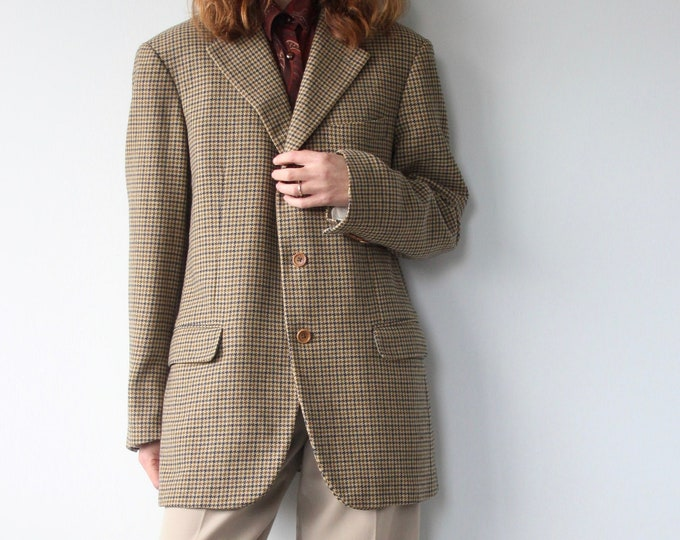 Burberry Pure Wool Houndstooth Oversized Boyfriend Town & Country Blazer