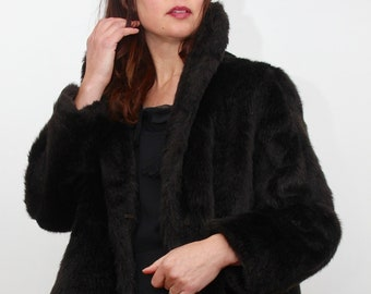 Black Faux Fur Short Astraka Evening Jacket