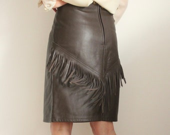 Brown Leather Fringe American Western Cowgirl Skirt