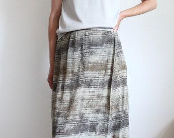 Vintage Aquascutum Long Wrapover Linen Mix Skirt