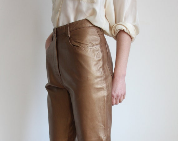 Gold Leather 1980's Trousers By Jaeger Size UK 12