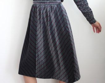 Grey Velvet and Mauve 1970's Stripe Skirt