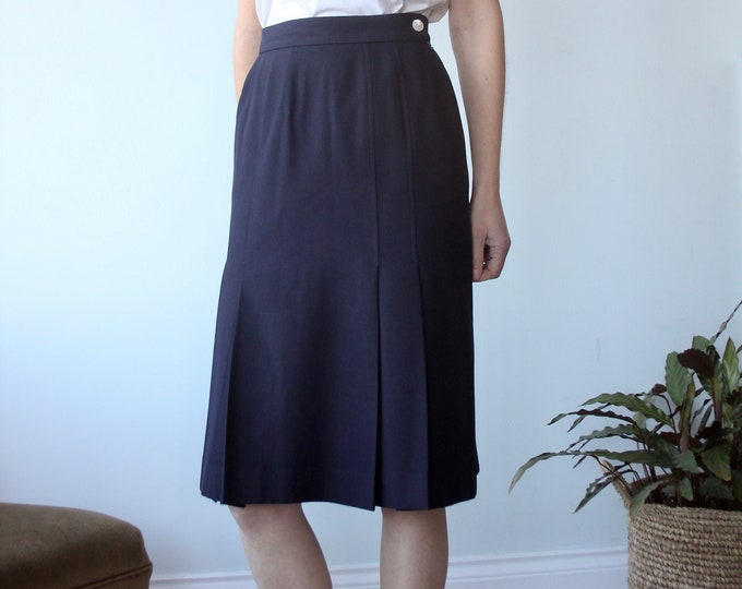 Jaeger Pleated Preppy A-Line Skirt
