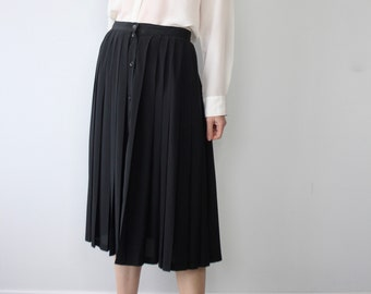 Black Pleated 80s  Rodier Paris Skirt