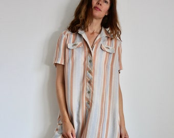 Carnegie of London 1970's Stripe Short Sleeve Shirt Dress