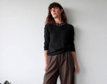GHOST Marl Grey Jewelled Soft Wool Jumper