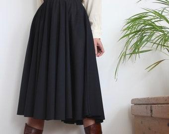 Black 1970's High Waist Flared Skirt