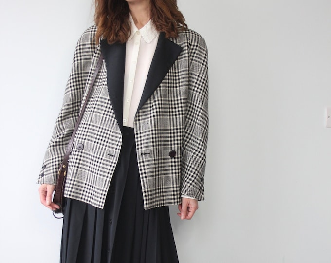 Valentino Prince of Wales Check Double Breasted Wool Blazer