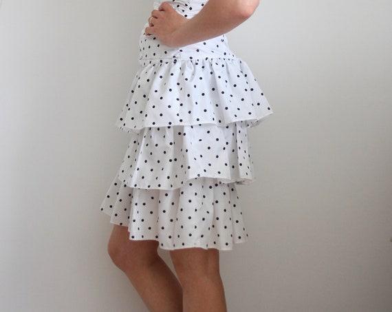 Radley 1980's Polkadot Tiered Ra Ra Strapless Dress / Petite