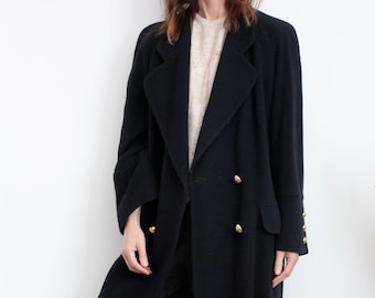 Mansfield Navy Blue Military Style 80's Wool Coat