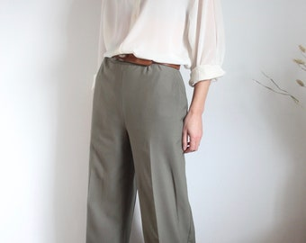 Maxmara Khaki Wool High Waisted Flat Front Trousers