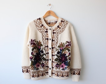 Vintage Liz Claiborne Hand Knitted Wool Scenic Cardigan