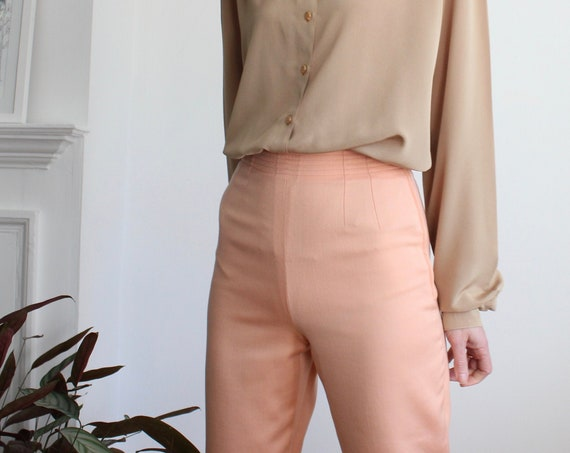 Salmon Pink 60s High Waist Flat Front Slim Trousers