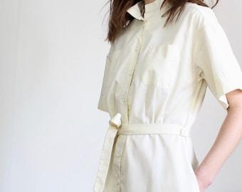 Vintage Cream Shirt Midi Dress