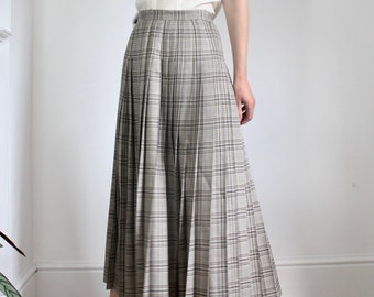 Vintage Pleated Wool Silk Mix Check Skirt By Jaeger