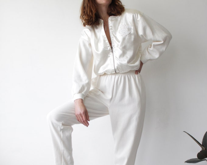 Featured listing image: 90s Cream Satin Sports Luxe Loungewear Jumpsuit