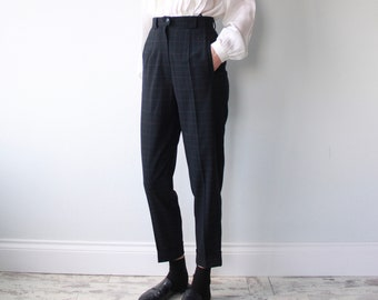 Navy Blue Check High Waist Tailored Tapered Trousers