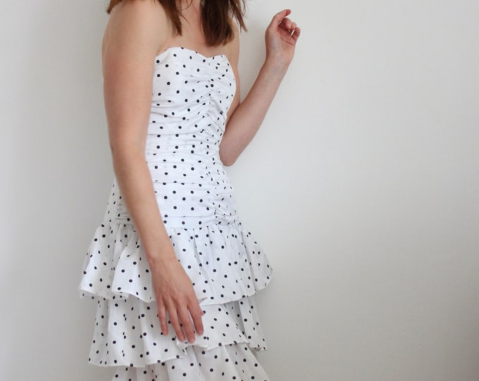 Radley 70's/80's White Polkadot Tiered Ra Ra Strapless Dress