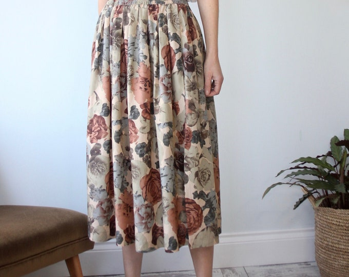 Vintage Betty Barclay All Silk Floral Print 80's Skirt