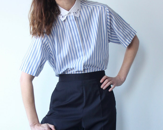 Vintage Blue Stripe Blouse With Cut Out Embroidered Lace Collar
