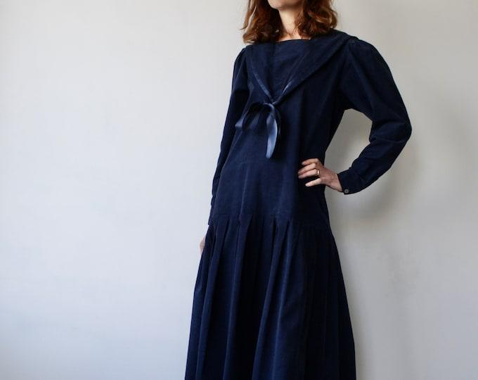 Featured listing image: Laura Ashley Nautical Sailor Collar Prairie Style Dress UK 12