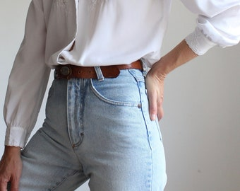 Vintage 1980s Faded Blue Tapered All Cotton High Rise MOM Jeans By Benetton