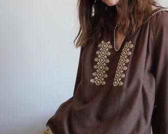 Brown 70's Boho Peasant Embroidered Smock Blouse