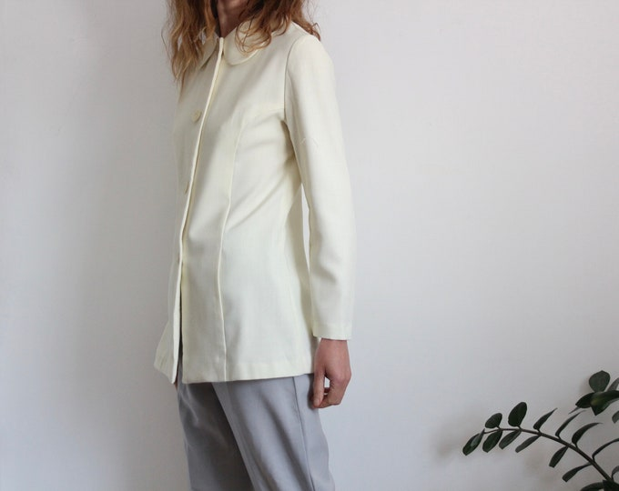 Peter Pan Collar Cream 70s Jacket