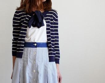 Blue Nautical Breton Stripe Cardigan With Silk Bow Tie