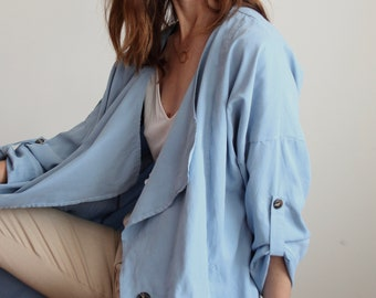Sky Blue Sustainable Cupro Silky Jacket