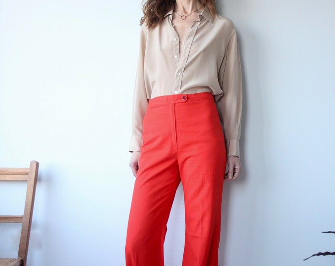 Vintage Red Evergreen 1970s Original Flared Trousers W28 L33