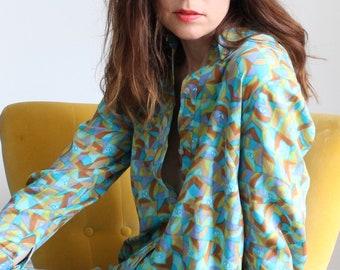 Riitta 1970s Geometric Print Shirt Dress