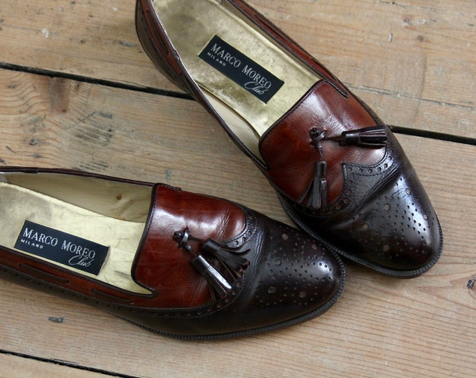 Brown Leather Loafers Marco Moreo Club, Italian. Size UK 6.5