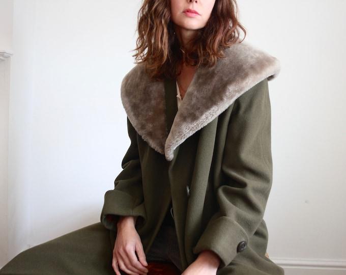 1950's Faux Fur Collar Olive Wool Coat