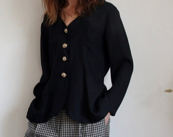 Black 80's Evening Jacket With Gold Buttons