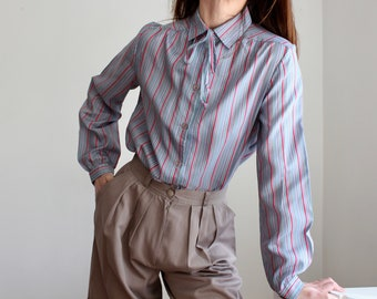 1970's Stripe Tie Secretary Blouse