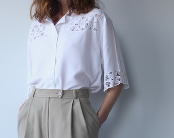 Handmade Balinese Lace White Cut Out Blouse