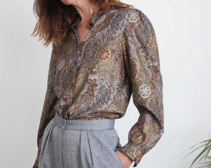 1980s Metallic Jacquard Style Print Blouse UK 10-12