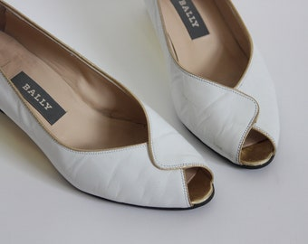 White Bally Gold Wedge 70s Luxe Peeptoe Shoes