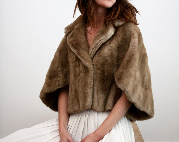 Featured listing image: Faux Fur Mink 1970's Capelet By Tissavel Paris