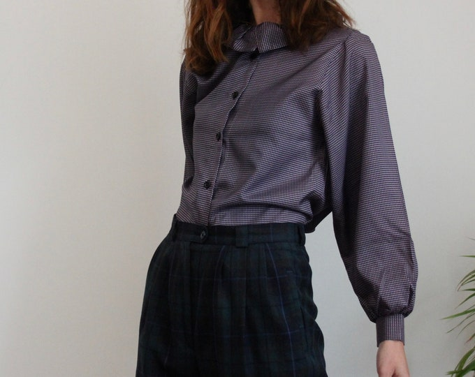 Houndstooth Frill Collar 1970's Sybille Clayman Blouse