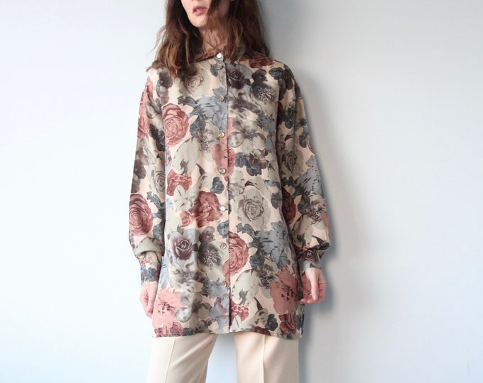 Betty Barclay All Silk Floral Print 80s Blouse