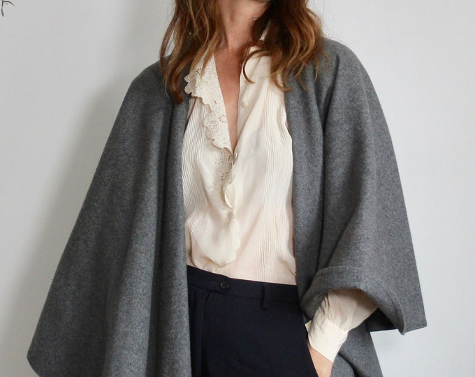 Weinberg Paris 70s Long Grey Cape Shawl Blanket Wool Coat