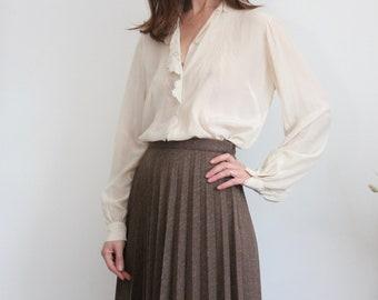 Pleated Wool 1970's Skirt