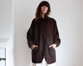 Vintage Brown 80's Batwing Wool Midi Coat