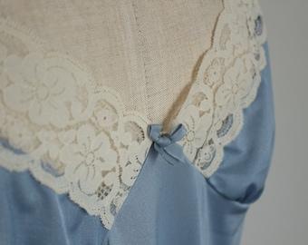 Cornflower Blue & Cream Lace Night Dress / Slip